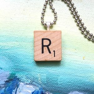 """Frost & Fire Jewelry - 1953 """"R"""" Scrabble® Tile Initial Pendant Necklace"""